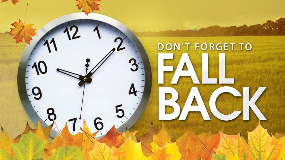 Don't forget…time change Nov. 2